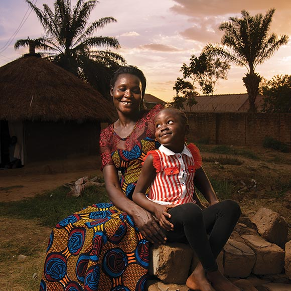 African mother and child in village
