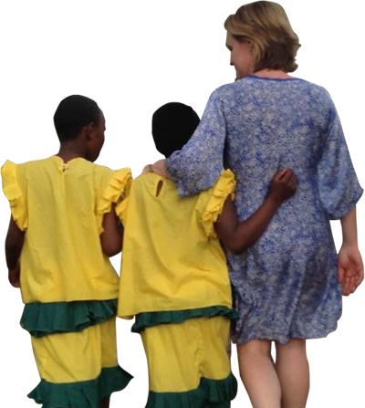Woman walking with 2 children