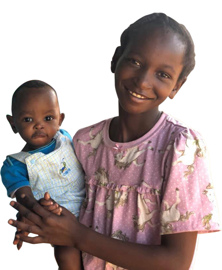 Young African woman with child